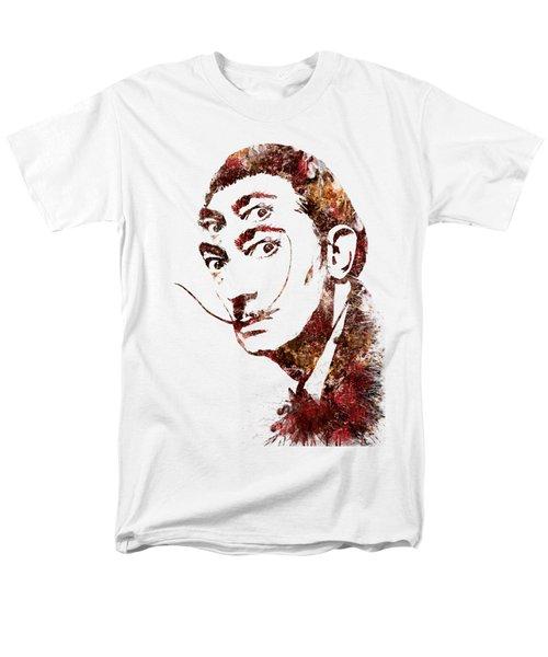 Men's T-Shirt  (Regular Fit) featuring the painting Salvador Dali Watercolor Digital Portrait Optic Illusion Fall Colors by Georgeta Blanaru