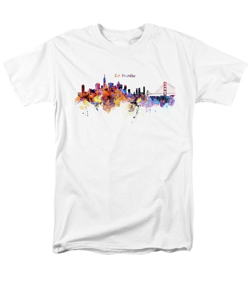 San Francisco Watercolor Skyline Men's T-Shirt  (Regular Fit) by Marian Voicu