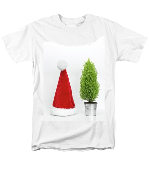 Santa Hat And Little Christmas Tree Men's T-Shirt  (Regular Fit) by GoodMood Art
