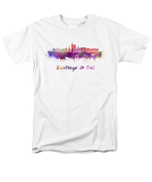 Santiago De Cali Skyline In Watercolor Men's T-Shirt  (Regular Fit) by Pablo Romero