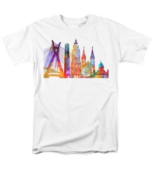 Sao Paulo Landmarks Watercolor Poster Men's T-Shirt  (Regular Fit) by Pablo Romero