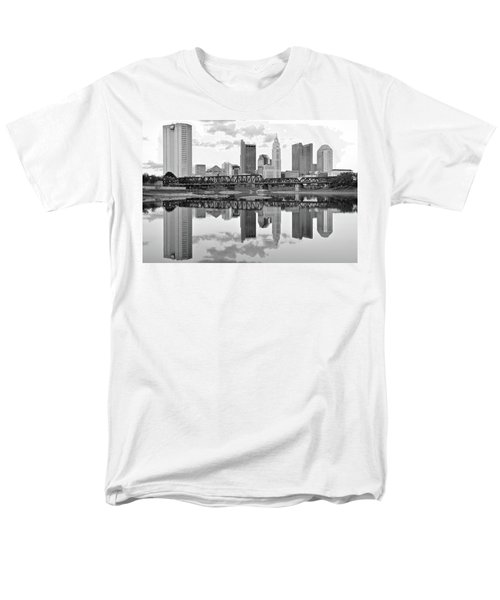 Men's T-Shirt  (Regular Fit) featuring the photograph Scarlet And Columbus Gray by Frozen in Time Fine Art Photography
