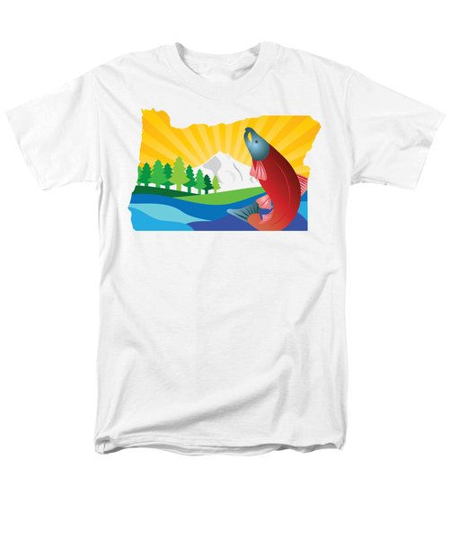 Scenic State Of Oregon Map Men's T-Shirt  (Regular Fit) by Jit Lim