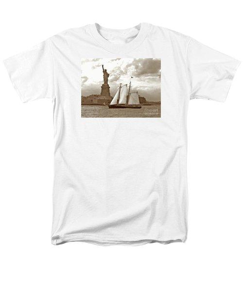 Schooner At Statue Of Liberty Twurl Men's T-Shirt  (Regular Fit) by Tom Wurl