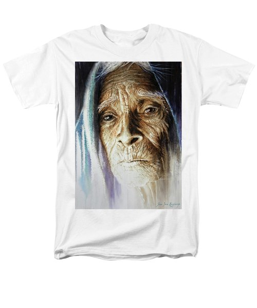 Men's T-Shirt  (Regular Fit) featuring the painting Scripts Of Ancestral Light  by J- J- Espinoza