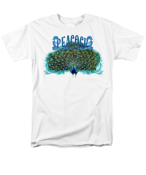 Scroll Swirl Art Deco Nouveau Peacock W Tail Feathers Spread Men's T-Shirt  (Regular Fit)