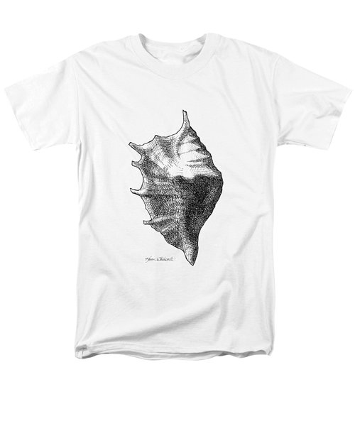 Men's T-Shirt  (Regular Fit) featuring the drawing Seashell 1 - Nautical Beach Drawing by Karen Whitworth