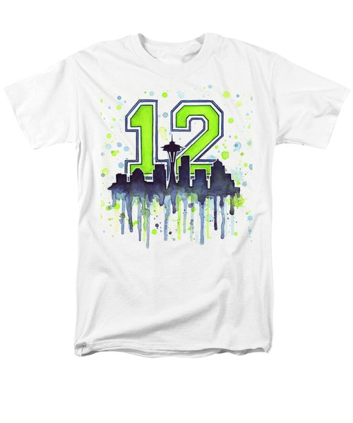 Seattle Seahawks 12th Man Art Men's T-Shirt  (Regular Fit) by Olga Shvartsur