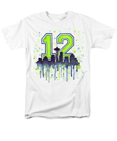 Seattle Seahawks 12th Man Art Men's T-Shirt  (Regular Fit)