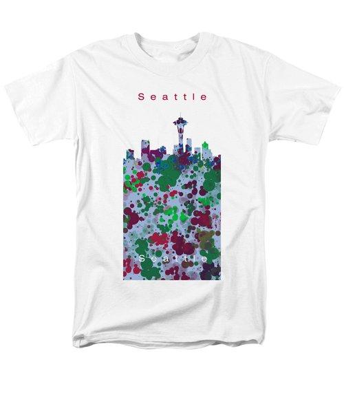 Seattle Skyline .3 Men's T-Shirt  (Regular Fit) by Alberto RuiZ