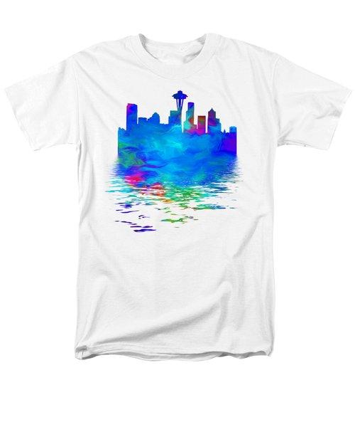 Seattle Skyline, Blue Tones On White Men's T-Shirt  (Regular Fit) by Pamela Saville