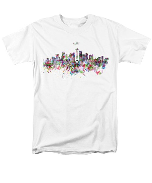 Seattle Skyline Silhouette Men's T-Shirt  (Regular Fit) by Marian Voicu