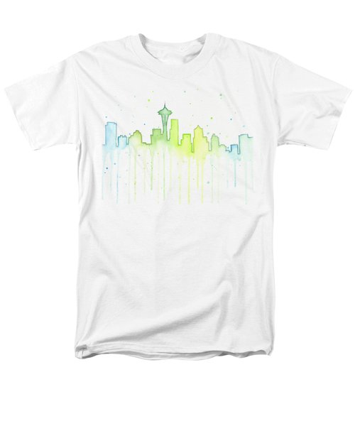 Seattle Skyline Watercolor  Men's T-Shirt  (Regular Fit)