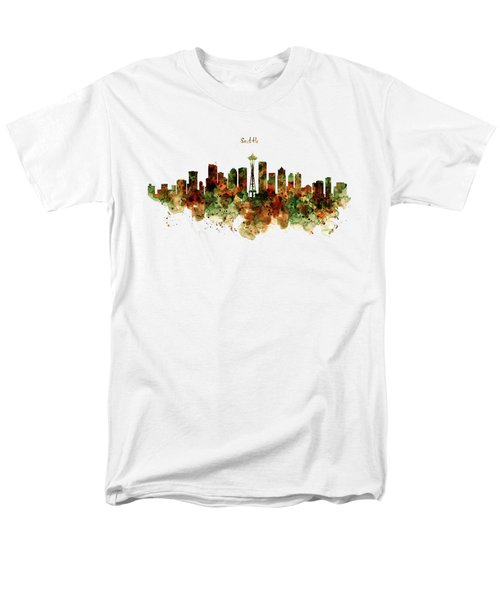 Men's T-Shirt  (Regular Fit) featuring the mixed media Seattle Watercolor Skyline Poster by Marian Voicu