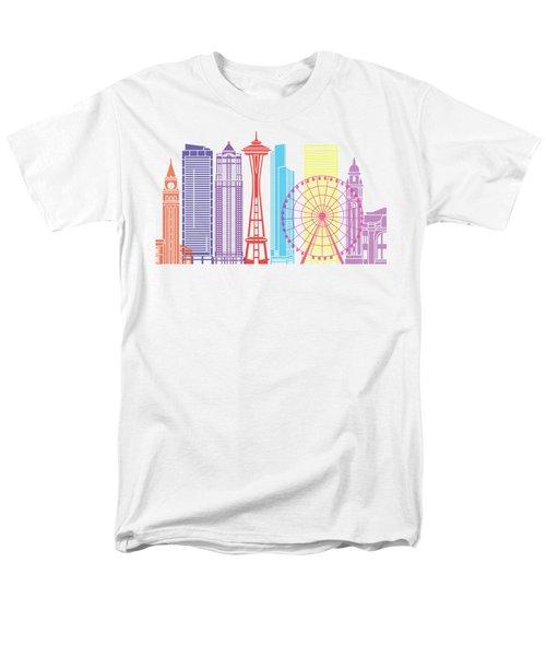 Seattle_v2 Skyline Pop Men's T-Shirt  (Regular Fit) by Pablo Romero