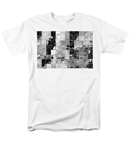 Shades Of Gray Tile Mosaic. Tile Art Painting Men's T-Shirt  (Regular Fit) by Mark Lawrence