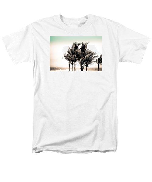 Shades Of Palms - Aqua Brown Men's T-Shirt  (Regular Fit) by Colleen Kammerer
