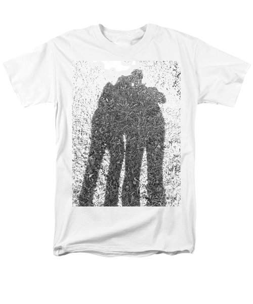 Men's T-Shirt  (Regular Fit) featuring the photograph Shadow In The Meadow Bw by Wilhelm Hufnagl