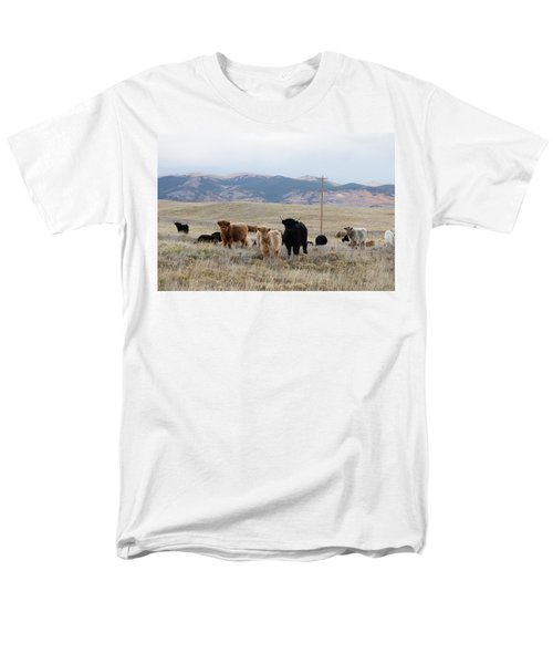Men's T-Shirt  (Regular Fit) featuring the photograph Shaggy-coated Cattle Near Jefferson by Carol M Highsmith
