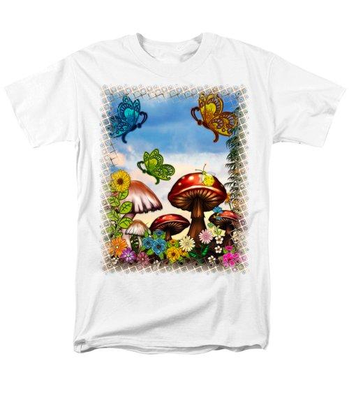 Shroomvilla Summer Fantasy Folk Art Men's T-Shirt  (Regular Fit) by Sharon and Renee Lozen