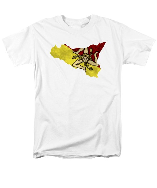 Sicily Map Art With Flag Design Men's T-Shirt  (Regular Fit) by World Art Prints And Designs
