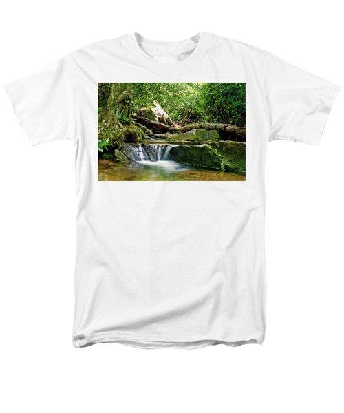 Men's T-Shirt  (Regular Fit) featuring the photograph Sims Creek Waterfall by Meta Gatschenberger