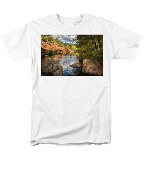 Men's T-Shirt  (Regular Fit) featuring the photograph Sitting Creekside Oak Creek  by Saija Lehtonen