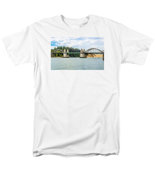 Men's T-Shirt  (Regular Fit) featuring the tapestry - textile Siuslaw River Draw Bridge  by Dennis Bucklin