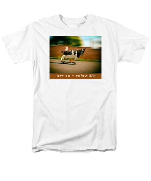 Skateboarding Cow And Pals Men's T-Shirt  (Regular Fit) by James Bethanis