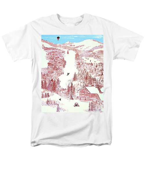 Skiing Deer Valley Utah Men's T-Shirt  (Regular Fit) by Richard W Linford