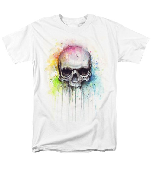 Skull Watercolor Painting Men's T-Shirt  (Regular Fit) by Olga Shvartsur