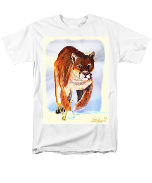 Men's T-Shirt  (Regular Fit) featuring the painting Snow Cougar by Sherril Porter
