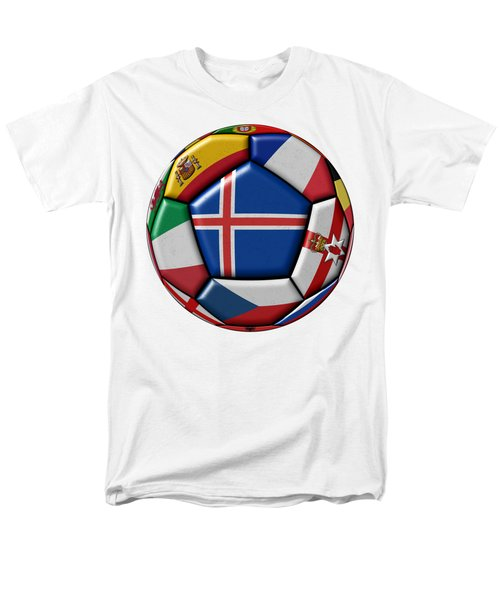 Soccer Ball With Flag Of Iceland In The Center Men's T-Shirt  (Regular Fit) by Michal Boubin