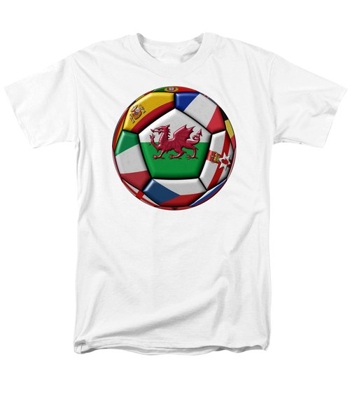 Soccer Ball With Flag Of Wales In The Center Men's T-Shirt  (Regular Fit) by Michal Boubin