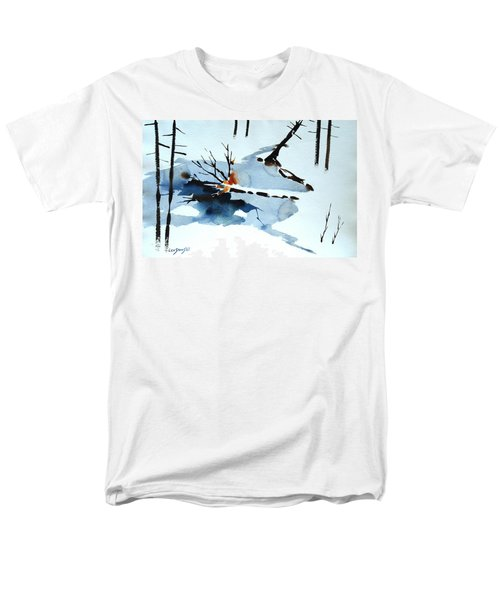 Men's T-Shirt  (Regular Fit) featuring the painting Southern Vermont Roadside Runoff by Len Stomski