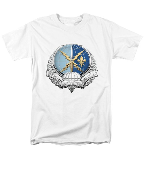 Special Operations Weather Team -  S O W T  Badge Over White Leather Men's T-Shirt  (Regular Fit) by Serge Averbukh