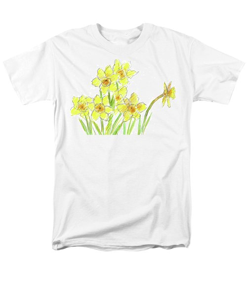 Men's T-Shirt  (Regular Fit) featuring the painting Spring Daffodils by Cathie Richardson