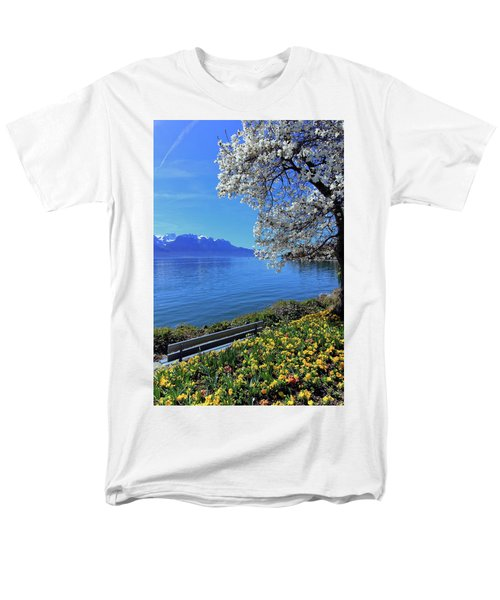 Springtime At Geneva Or Leman Lake, Montreux, Switzerland Men's T-Shirt  (Regular Fit) by Elenarts - Elena Duvernay photo