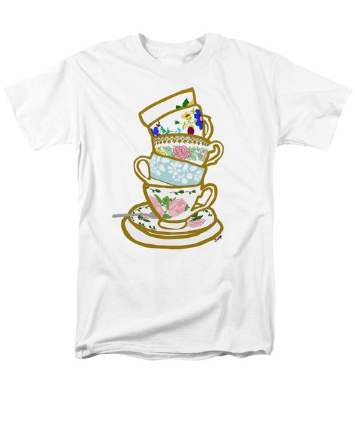 Stacked Teacups Men's T-Shirt  (Regular Fit) by Priscilla Wolfe