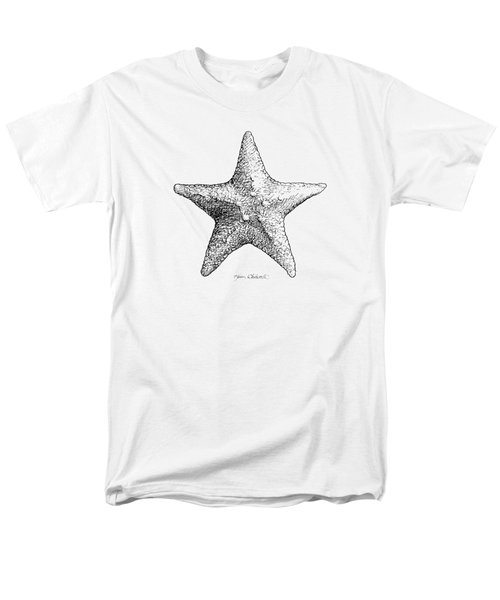 Men's T-Shirt  (Regular Fit) featuring the drawing Starfish Drawing Black And White Sea Star by Karen Whitworth