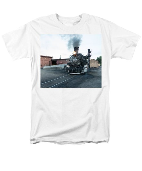Men's T-Shirt  (Regular Fit) featuring the photograph Steam Locomotive In The Train Yard Of The Durango And Silverton Narrow Gauge Railroad In Durango by Carol M Highsmith