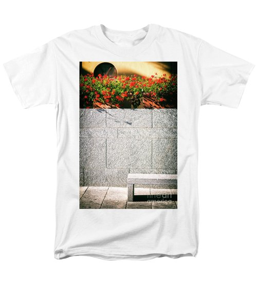 Men's T-Shirt  (Regular Fit) featuring the photograph Stone Bench With Flowers by Silvia Ganora