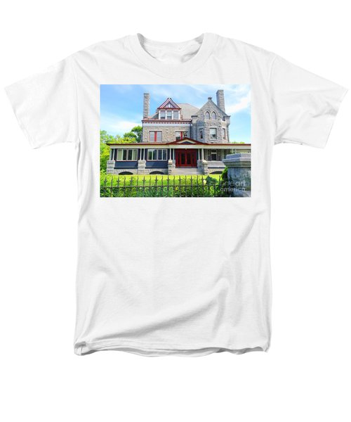 Men's T-Shirt  (Regular Fit) featuring the photograph Stone Mansion Red Doors by Becky Lupe