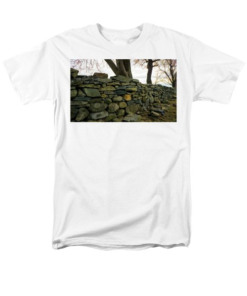 Stone Wall, Colt State Park Men's T-Shirt  (Regular Fit) by Nancy De Flon