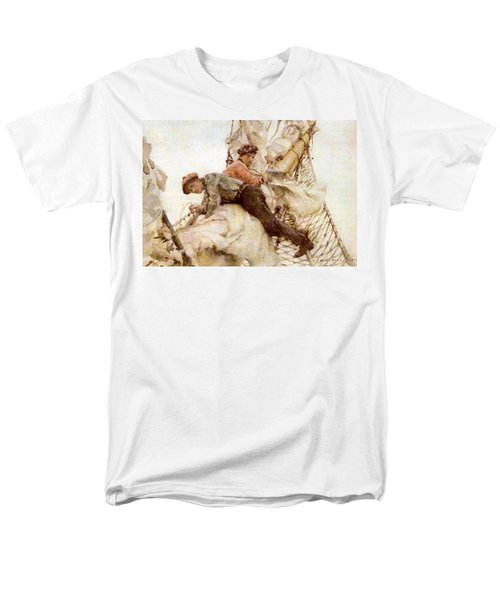 Men's T-Shirt  (Regular Fit) featuring the painting Stowing The Headsails  by Henry Scott Tuke
