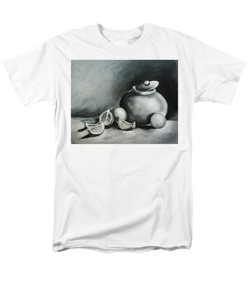 Study Of Lemons, Oranges And Covered Jug In Black And White Men's T-Shirt  (Regular Fit)