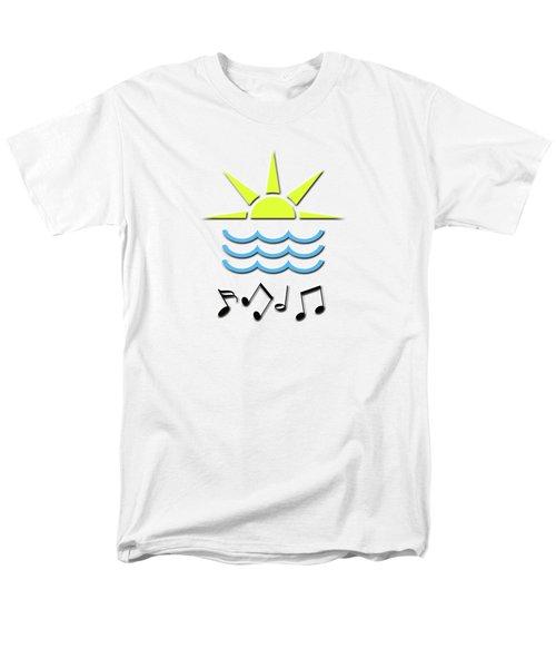 Men's T-Shirt  (Regular Fit) featuring the digital art Sun, Sea And Music by Linda Prewer