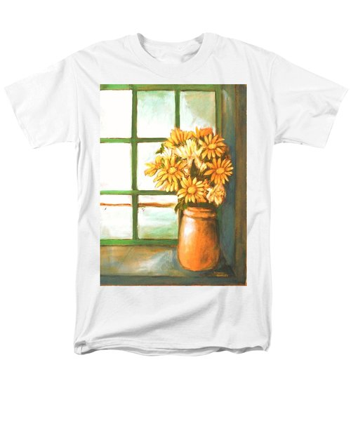 Men's T-Shirt  (Regular Fit) featuring the painting Sunflowers In Window by Winsome Gunning