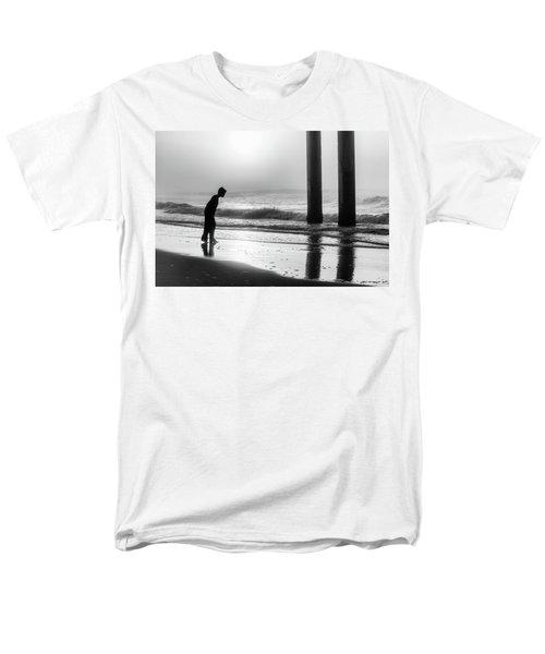 Men's T-Shirt  (Regular Fit) featuring the photograph Sunrise Boy In Foggy Beach by John McGraw