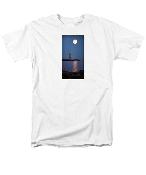 Super Moon Over Whaleback Lighthouse Men's T-Shirt  (Regular Fit) by Betty Denise